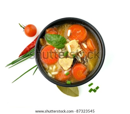 Chicken And Wild Rice Soup With Vegetables - stock photo