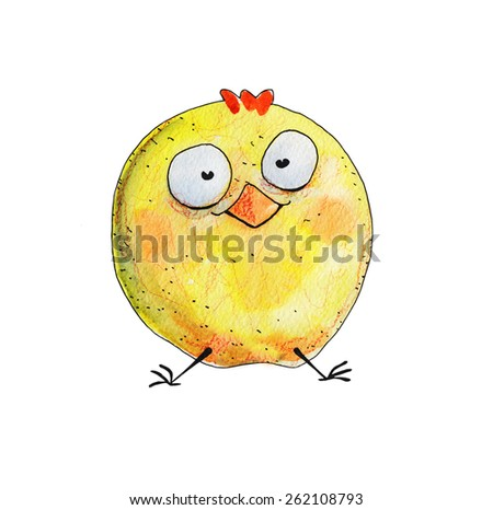 Chicken big sit. Watercolor illustration. Hand drawing - stock photo