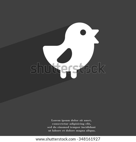 chicken, Bird icon symbol Flat modern web design with long shadow and space for your text. illustration - stock photo