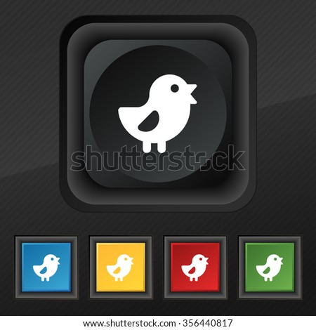 chicken, Bird icon symbol. Set of five colorful, stylish buttons on black texture for your design. illustration - stock photo