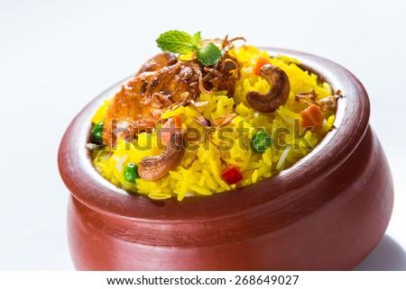 Chicken Biryani in clay pot - stock photo