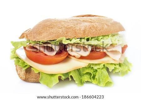 chicken breast sandwich on white background - stock photo