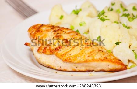 Chicken Breast with Cauliflower - stock photo