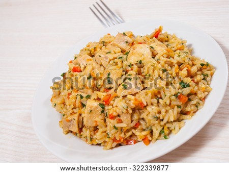 Chicken Breast with Rice and vegetables - stock photo