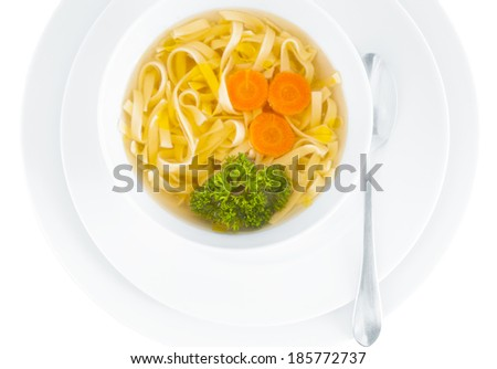 Chicken broth on white background  - stock photo