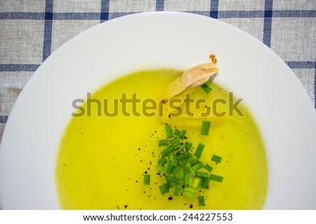 Chicken broth soup with herbs - stock photo