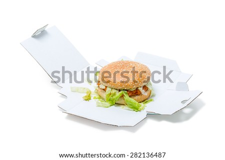 Chicken Burger in an open box isolated on white background - stock photo