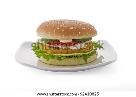 Chicken cheese burger on white background - isolated - stock photo