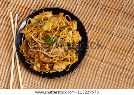 Chicken chow mein a popular oriental dish available at chinese restaurants - stock photo