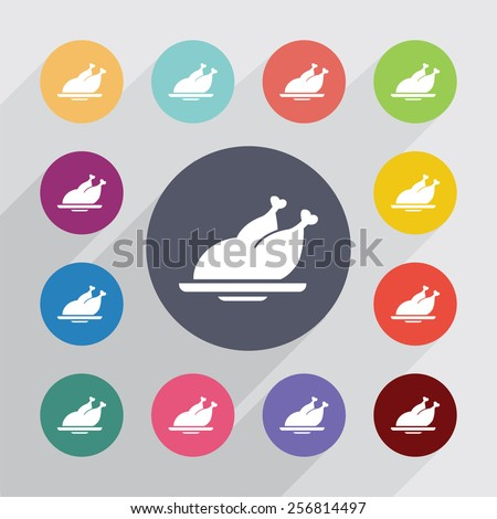 chicken circle, flat icons set. Round colorful buttons - stock photo