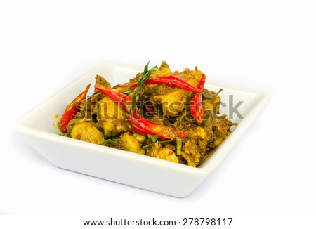 Chicken curry  on white plate isolated on white background . - stock photo