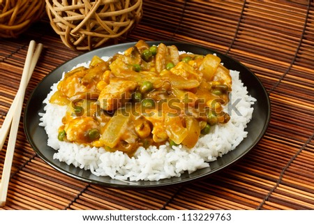 Chicken Curry with boiled rice a popular chinese food available at take aways - stock photo