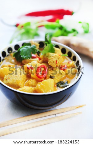 chicken curry with pineapples - stock photo