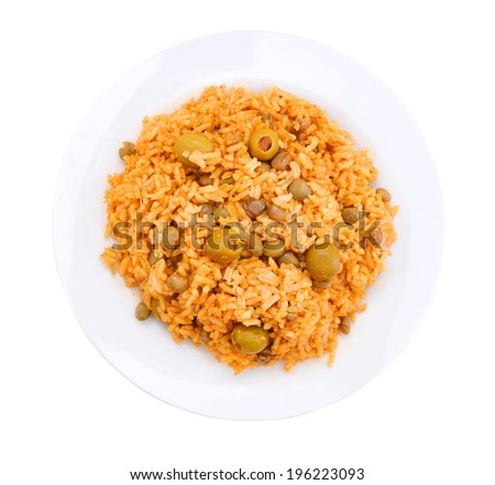 Chicken curry with vegetable curry and rice in plate on white  - stock photo