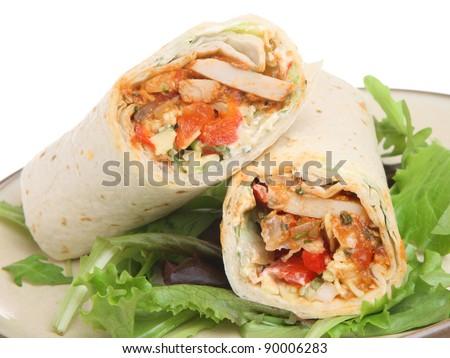 Chicken fajita tortilla wrap sandwich - stock photo