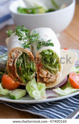 Chicken fajita with side salad - stock photo