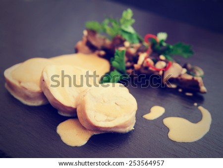 Chicken fillet cooked in asian way with shiitake black mushrooms, toned picture - stock photo