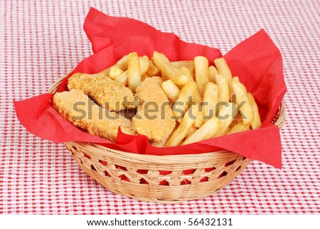 chicken fingers and french fries - stock photo