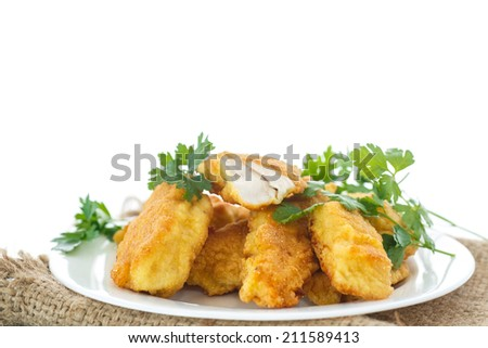 chicken fried in batter on a white background - stock photo