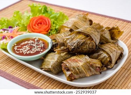 chicken fried Pandanus is delicious at restaurant in asia - stock photo