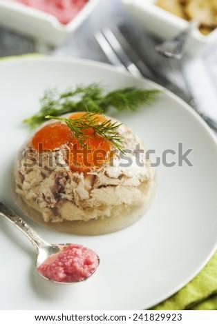 Chicken galantine aspic - stock photo