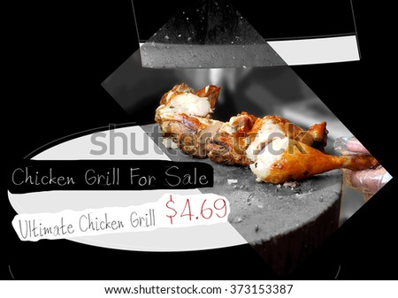 Chicken Grill sale for advertise poster computer graphic design have key visual is chicken look yummy - stock photo
