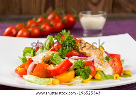 Chicken gyros salad closeup - stock photo