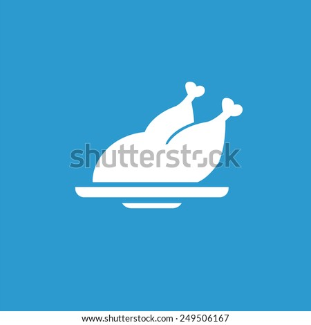 chicken icon, isolated, white on the blue background. Exclusive Symbols  - stock photo