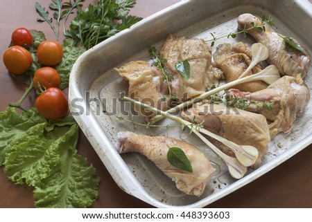 chicken in the pan. preparation for dinner. - stock photo