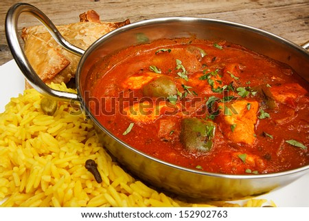 Chicken jalfrezi a popular indian curry available at eastern restaurants - stock photo