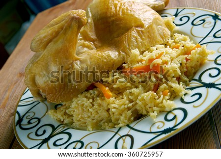 Chicken  Kabsa - mixed rice dishes that originates in Yemen.Middle eastern food. - stock photo