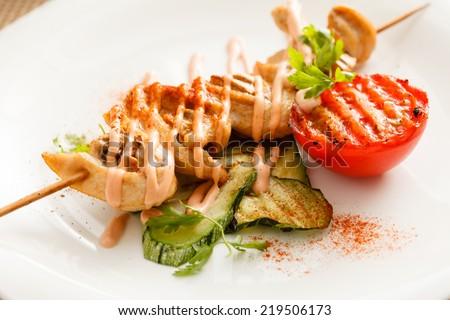 chicken kebab - stock photo