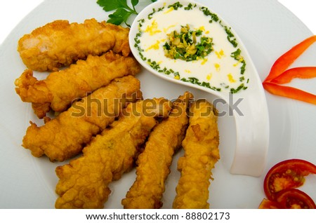Chicken kebab in the plate - stock photo