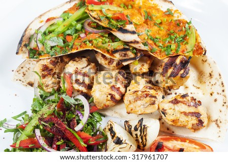 Chicken kebab Shawarma Plate isolated on White - stock photo