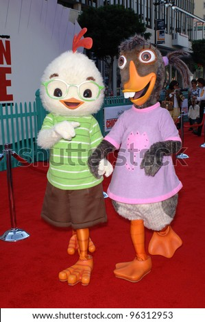 Chicken Little characters at the world premiere of Walt Disney's Chicken Little at the El Capitan Theatre, Hollywood. October 30, 2005 Los Angeles, CA  2005 Paul Smith / Featureflash - stock photo