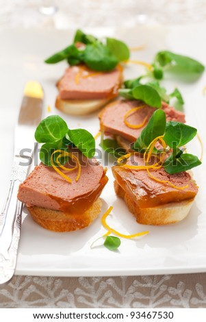 Chicken liver pate with orange jelly for holiday - stock photo