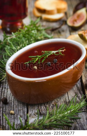 chicken liver pate with red wine jelly, selective focus - stock photo