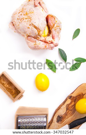 chicken marinated with lemon on a white background - stock photo
