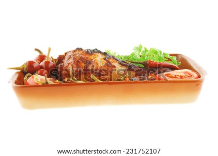 chicken meat and vegetables with red peppers - stock photo