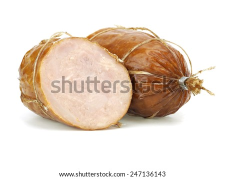 Chicken meat sausage on a white background - stock photo