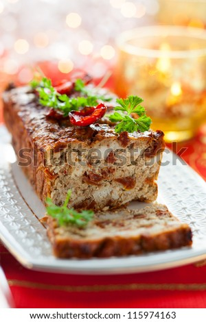 Chicken Meatloaf with Sun-Dried Tomatoes for Holiday - stock photo