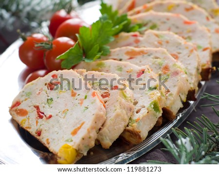 Chicken meatloaf with vegetables, selective focus - stock photo