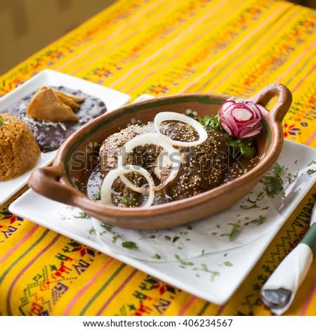 Chicken mole with puebla sauce  - stock photo