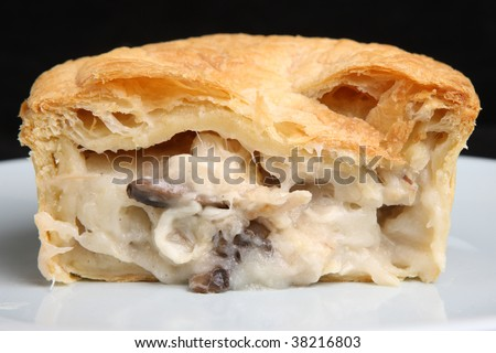 chicken & mushroom pie sliced open - stock photo