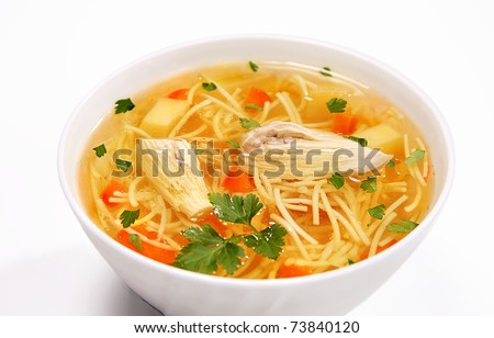 chicken noodle soup - broth. - stock photo