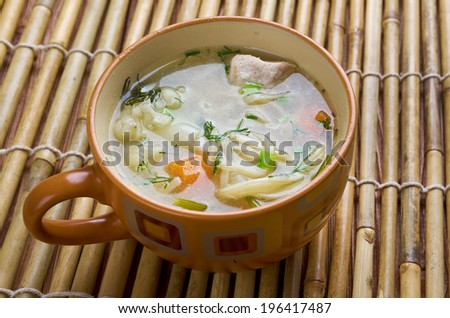 chicken noodle soup - broth. closeup. - stock photo