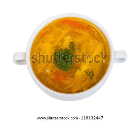 chicken noodle soup on white - stock photo