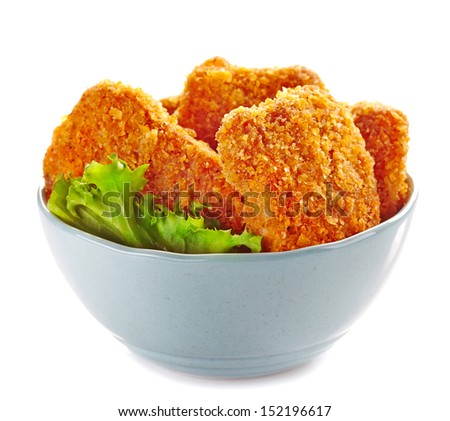 chicken nuggets in a bowl - stock photo