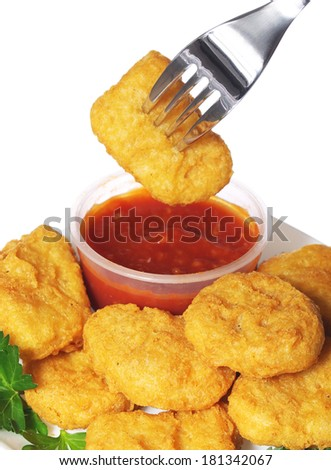 Chicken nuggets with ketchup. Fast Food - stock photo