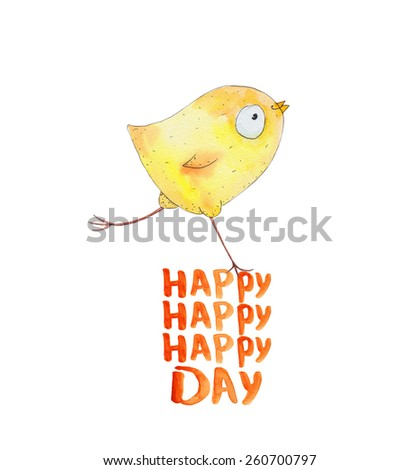Chicken on the egg . Happy day. Watercolor illustration. Hand drawing - stock photo